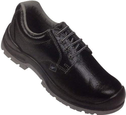 S Protection Leather Black Safety Shoes with Dual Density, Antistatic, Non-Metal Composite Midsole, Oil Resistant and Protective Steel Toe