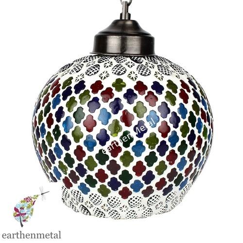 Mosaic Decorated Circular Glass Hanging Light