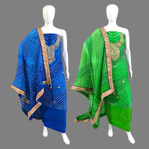 Art Silk Gota Patti Work Dress Material