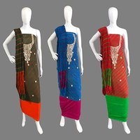 Art Silk Gota Patti Work Dress Material