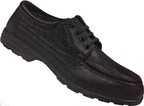 Leather Black Safety Shoes with Protective Basic, Oil Resistant and Protective Steel Toe