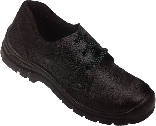 Leather Black Safety Shoes with Protective Basic, Oil Resistant, Antistatic, Non-Metal Composite Midsole, Steel Midsole and Protective Steel Toe