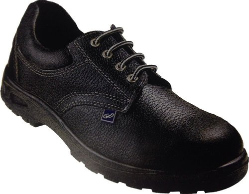 Leather Black Safety Shoes with Dual Density, Antistatic, Non-Metal Composite Midsole, Steel Midsole, Oil Resistant and Protective Steel Toe