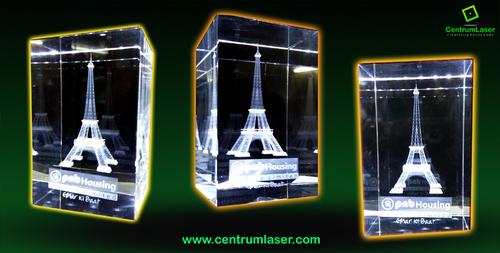 Eiffel Tower 3D Crystal Cube