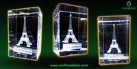 Eiffel Tower 3D Crystal Cube