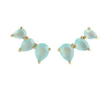 Beautiful Aqua Chalcedony Prong Set Ear Climbers - 925 Silver Earring for Women