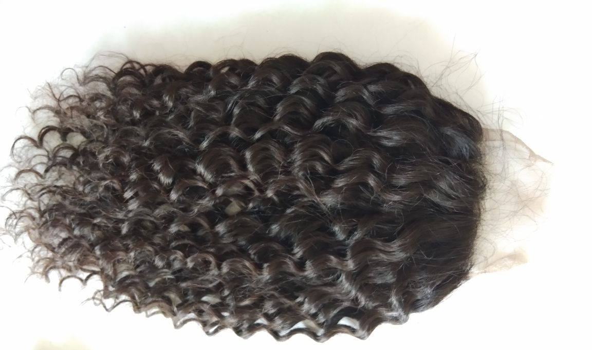 100% Temple Loose curly hair Hd transparent lace closure