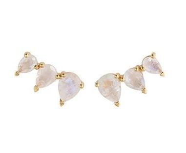 Rainbow Moonstone Prong Set Ear Climbers - Gold Vermeil Earring for Women