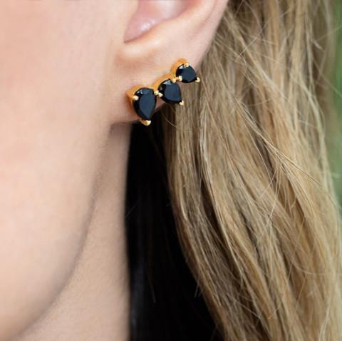 Rainbow Moonstone Prong Set Ear Climbers - Gold Vermeil Earring for Women