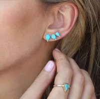 Trendy Turquoise Prong Set Ear Climbers - 925 Silver Earring for Women