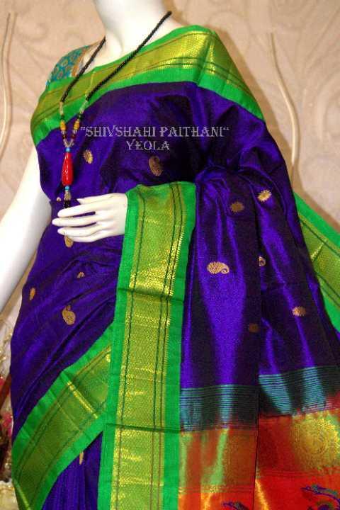 Blue green Maharani Paithani