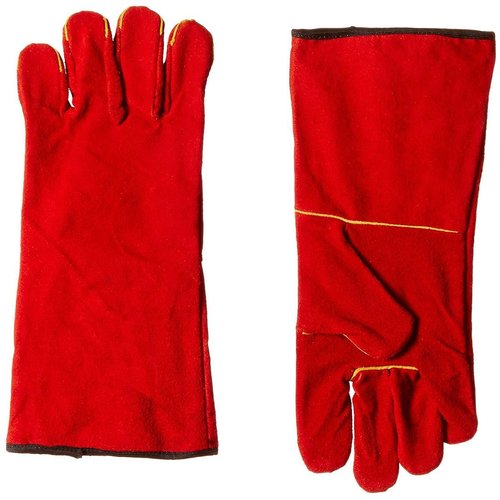 S Protection Red Split Welding Gloves with lining, Red, Economy