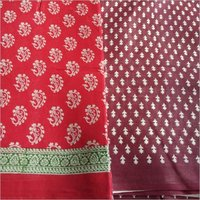 Pure Cotton Mulmul Block Printed Saree without Blouse