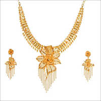 Gold Necklace With Earing