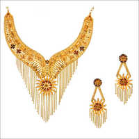 Designer Gold Necklace with Earing