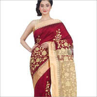Ladies Red Embroidered Saree