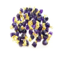 Amethyst Raw Gold Electroplated Cap Pendant