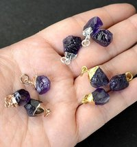 Gold Electroplated Cap Natural Amethyst Gemstone Rough Pendant - 15-18mm Long Birthstone Pendant