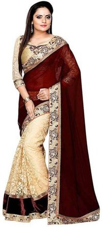 Cream & coffee saree