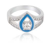 SILVER RING WITH CZ AND BLUE ENAMEL