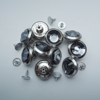19mm pewter with gray glass stone shank button (HD2222-18)
