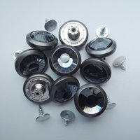 19mm matt pewter with gray glass stone shank button (HD2223-18)