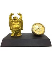 Laughing Buddha with clock