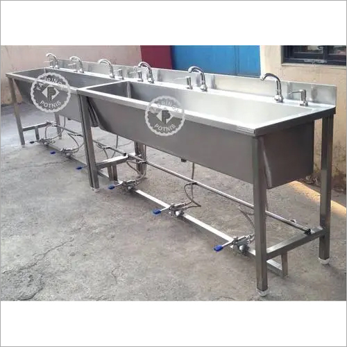 Three Person Foot Operated Hand Wash Sinks