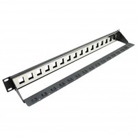 1U 16 PORT FTP Blank Patch Panel WITH SUPPORT BAR