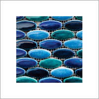 Oval Blue Mix Tile Mosaic Tiles
