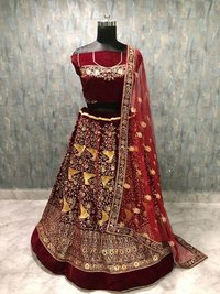 Ladies Party Wear Maroon colour Lehenga Choli