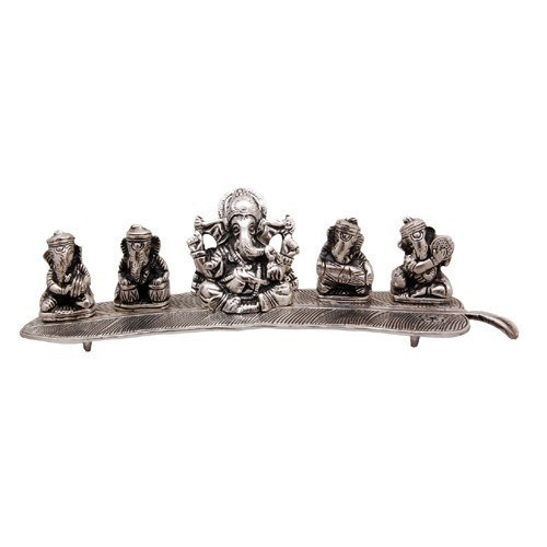 White Metal Ganesha Playing Instrument Statue