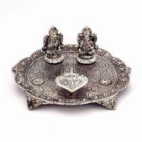 White Metal Lakshmi Ganesh Statue Thali
