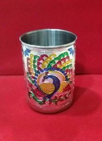 Meenakari Silver Glass