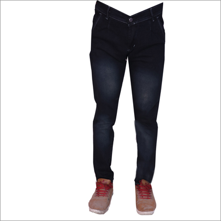Black Shaded Regular Fit Strechable Jeans