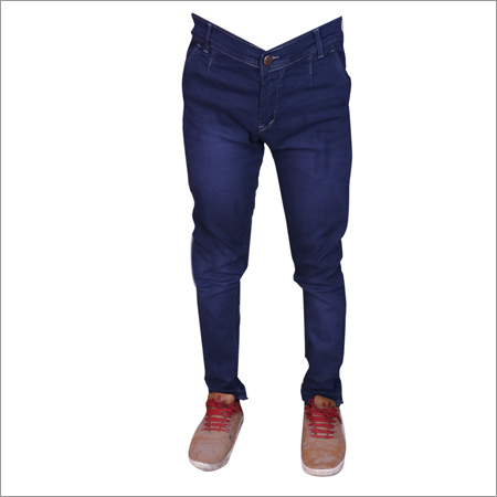 Dark Blue Shaded Mens Regular Fit Full Stretch Jeans