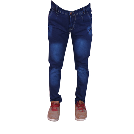 Dark Blue Shaded Regular Fit Strechable Jeans