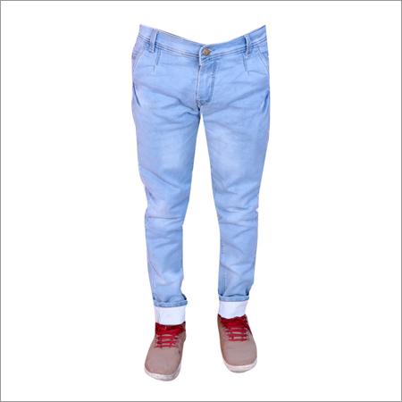 Light Blue Shaded Regular Fit Full Strechable Jeans