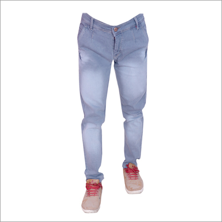 Light Gray Shaded Regular Fit Full Strechable Jeans