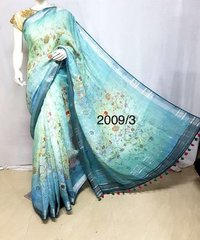 Linen digital printed Sarees