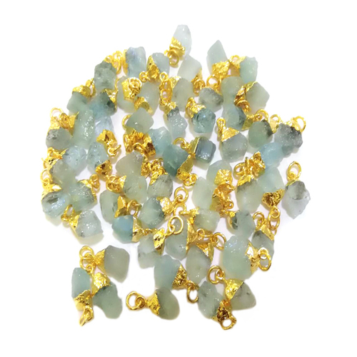 Raw Aquamarine Gold Electroplated Cap Pendant