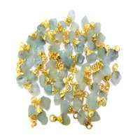 Aquamarine Gold Electroplated Cap Natural Gemstone Rough Pendant
