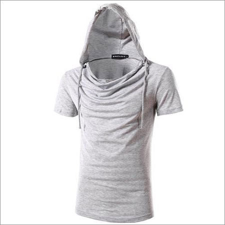 Mens Cowl Neck Hooded T Shirt