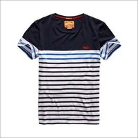 Mens Round Neck Striped T Shirt