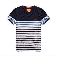 Mens Round Neck Striped T Shirt