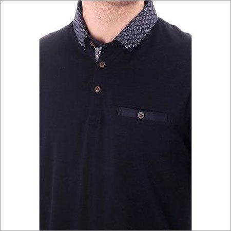 Mens Woven Collar Polo T Shirt