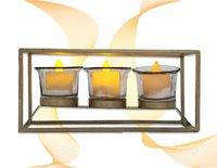 Golden Box Shape Candle Holder
