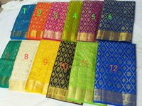 Art silk Ikkat weaved jari rich pallu with running plain blouse attached