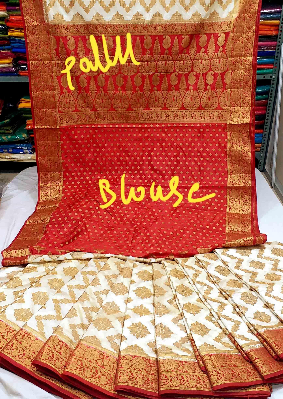 Art silk organza khicha rich pallu contrast with contrast small butta design blouse
