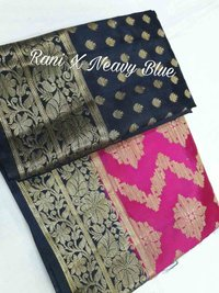 Art silk organza khicha rich pallu contrast with contrast small butta design blouse